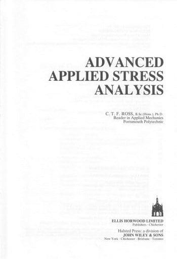 دانلود کتاب Ross C. T. F., Advanced Applied Stress Analysis, 1987